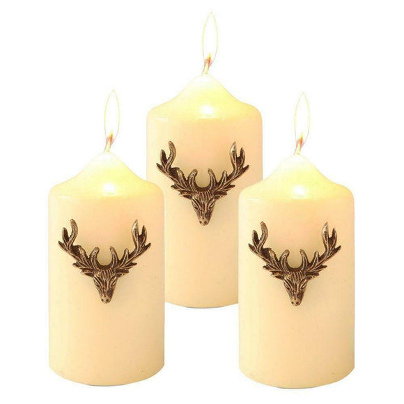 Stunning Vintage Gold Stags Head Candle Jewellery Pins - Set of Three
