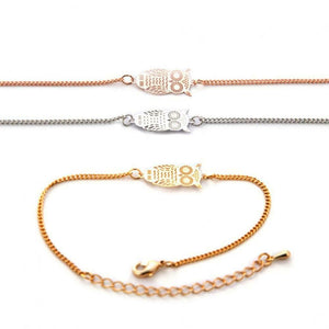 Love The Links Silver, Rose Gold or Yellow Gold Delicate Owl Bracelet Bangle