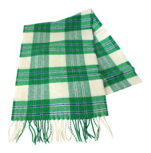 100% Lambswool Traditional Scottish Tartan Check Neck Scarf Green White Blue
