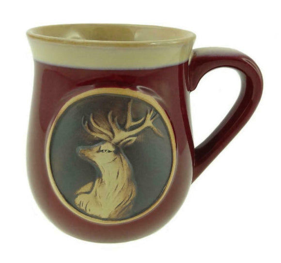 Stoneware Piping Hot Mug Featuring A Scottish Highland Stag 2 Colours Available