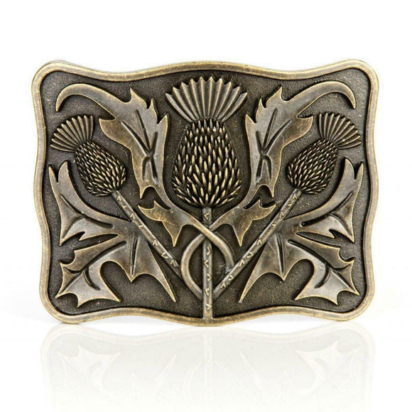 Stunning Scottish Celtic Thistle Brass Kilt Belt Buckle
