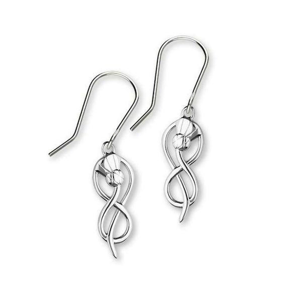 Ortak Contemporary Scottish Thistle Sterling Silver Drop Dangle Earrings