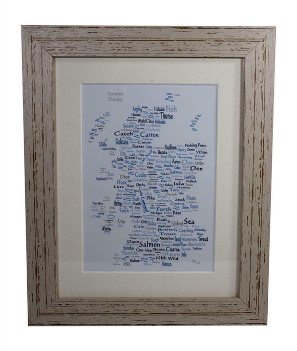 Art By The Loch Handmade Scottish Fishing Word Art Picture