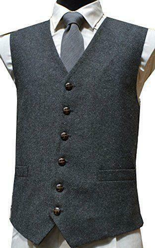 Mens Wool Blend Tweed Waistcoat Vest Gilet - Grey Herringbone