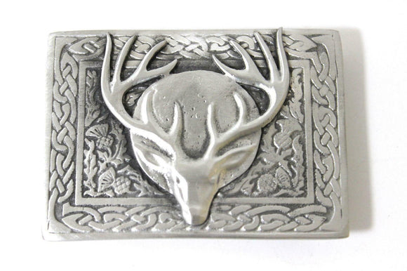 Brushed Pewter Stag and Thistle Celtic Knot Work Belt Kilt Buckle