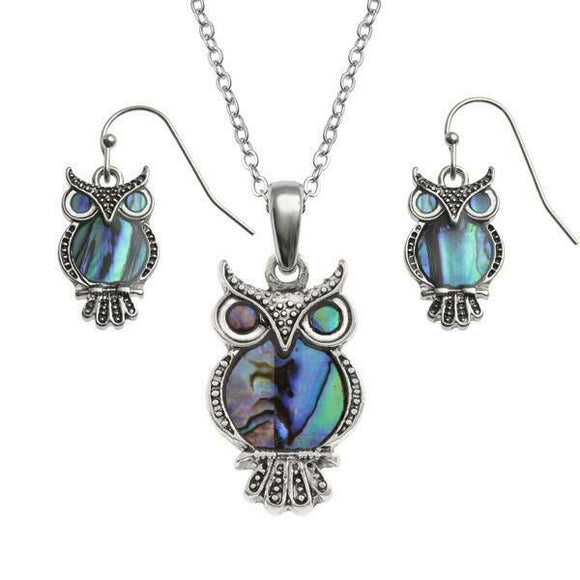 Tide Jewellery Inlaid Owl Necklace & Dangly Earring Set