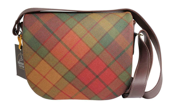 Tasteful Tartans Cullins Of Skye Tartan & Brown Leather Shoulder Bag Purse