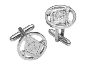 Stunning Masonic Pewter T-bar Cufflinks in Polished Palladium Finish