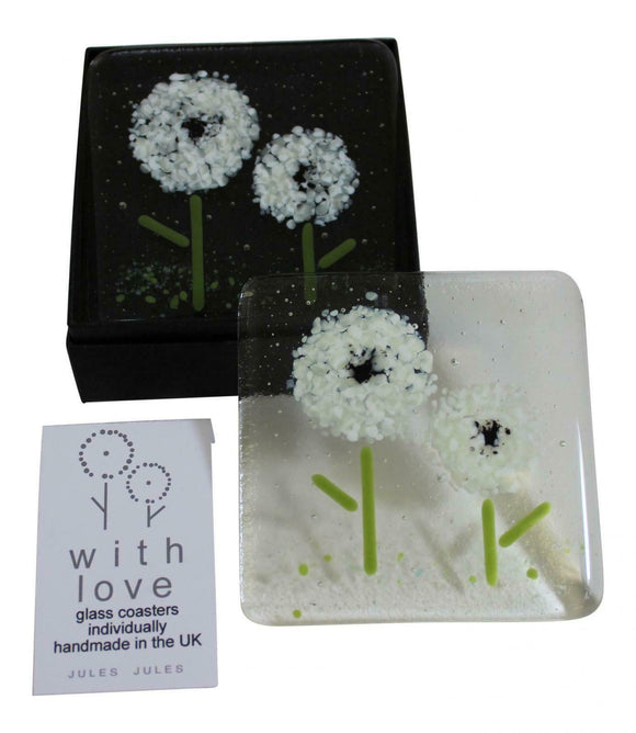 Pair of Handcrafted Glass Coasters Featuring A White Flower