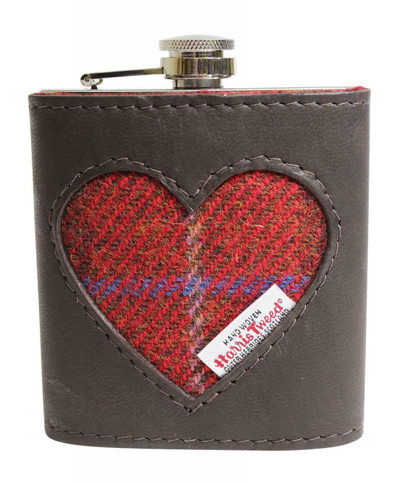 Stylish Brown Authentic Leather & Genuine Harris Tweed Heart 6oz Hipflask
