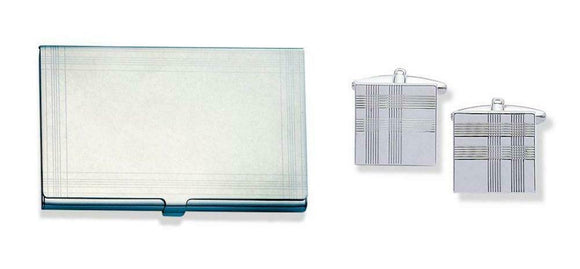 Engravable Tartan Business Card Holder With Note Pad & Pen & Matching Cufflinks