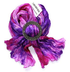 Ladycrow Pink and Purple Pongee Silk Scarf with Celtic Knot Scarf Ring Gift Set