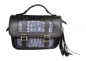 Fabulous Scottish Black & Grey Leather Small Traditional Satchel