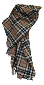 100% Pure Lambswool Authentic Traditional Scottish Tartan Stole - Thomson Camel