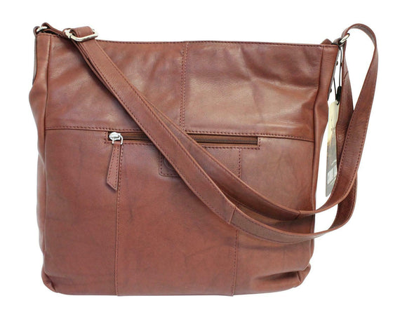 Rowallan Nambia Tan Brown Curved Rounded Zip Top Hobo Shoulder Handbag Purse
