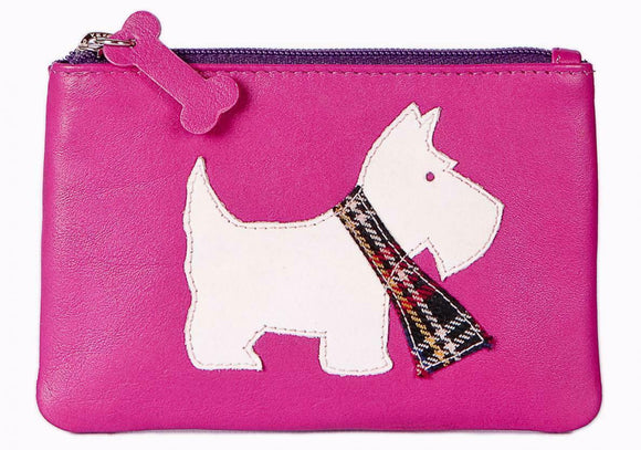 Ladies Pink Leather Zip Top Coin Pocket Purse Wallet with Scottie Dog Appliqué