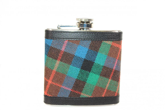 100% Scottish Tartan Wrapped 6oz Stainless Steel Hip Flask - Campbell Argyll