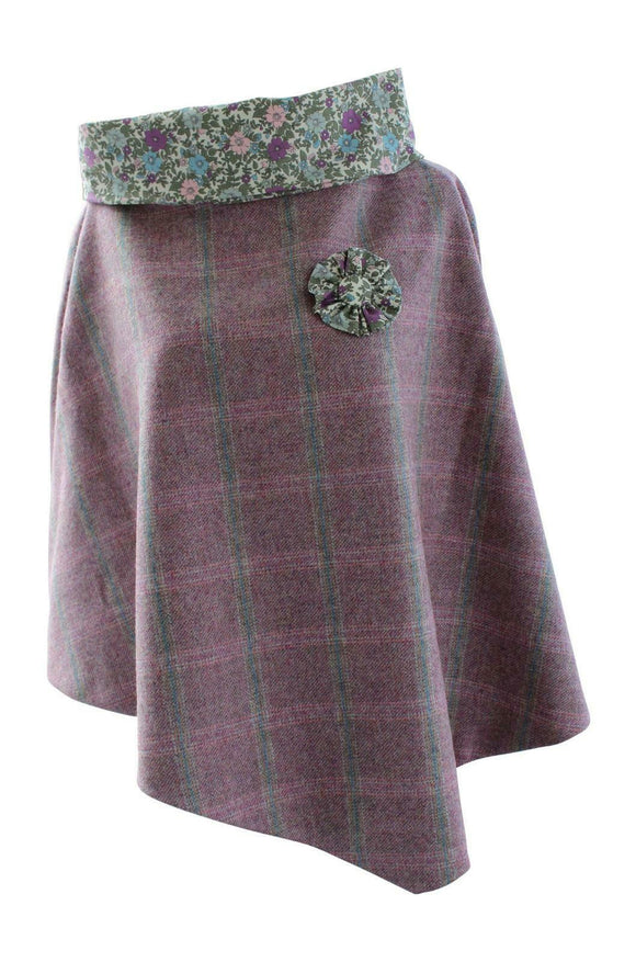 Stunning Pink Rose Finch Tweed Poncho Cape Wrap with Contrasting Flower Collar