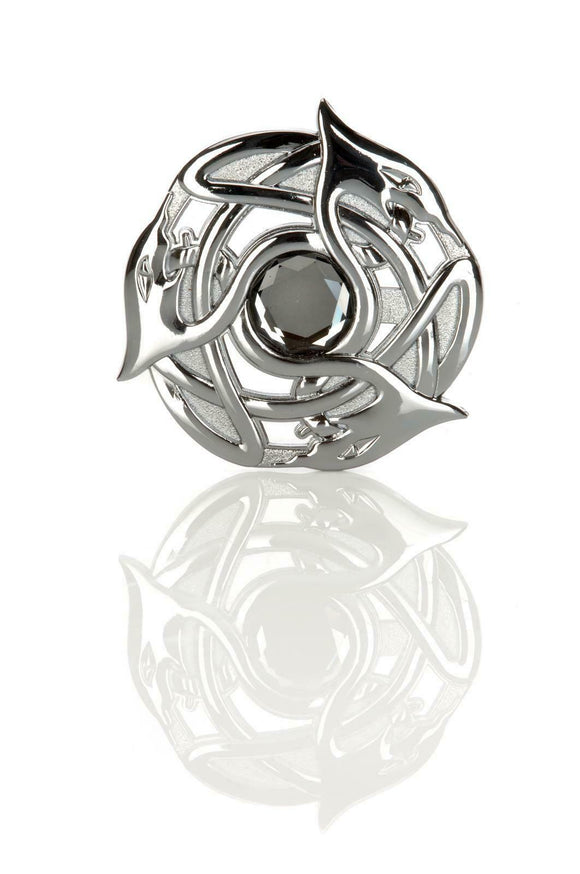 Celtic Serpent Plaid Brooch in Polished Chrome with Variety Stone Centre