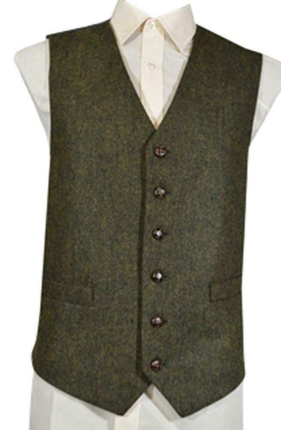 Mens Wool Blend Tweed Waistcoat Vest Gilet - Green Flecked