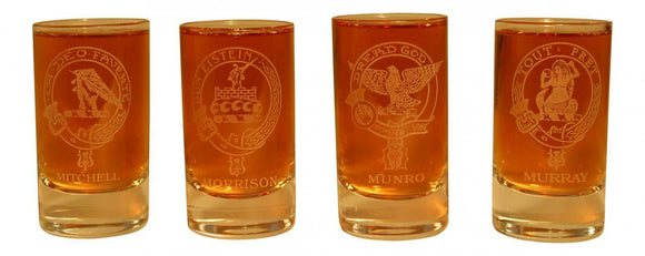 Glencairn Clan Crest Crystal Dram Tot Glass - Mitchell Morrison Munro Murray