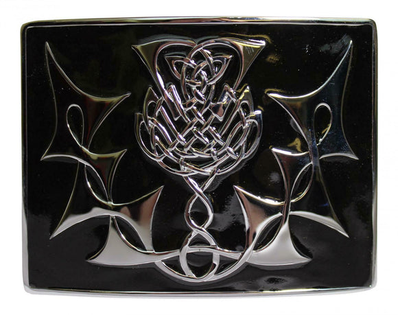 Scottish Thistle Polished Chrome Kilt Matte Antique Black Enamel Belt Buckle