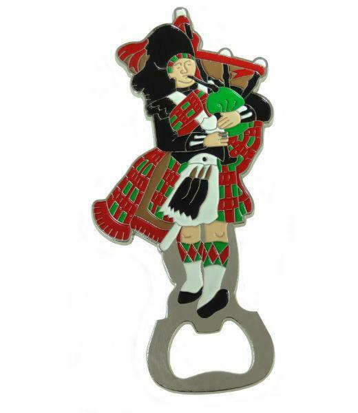 Etched and Enamelled Stainless Steel Bagpipe Piper Bottle Opener