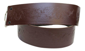Stag Embossed 100% Brown Leather Quality Buckle Kilt Belt