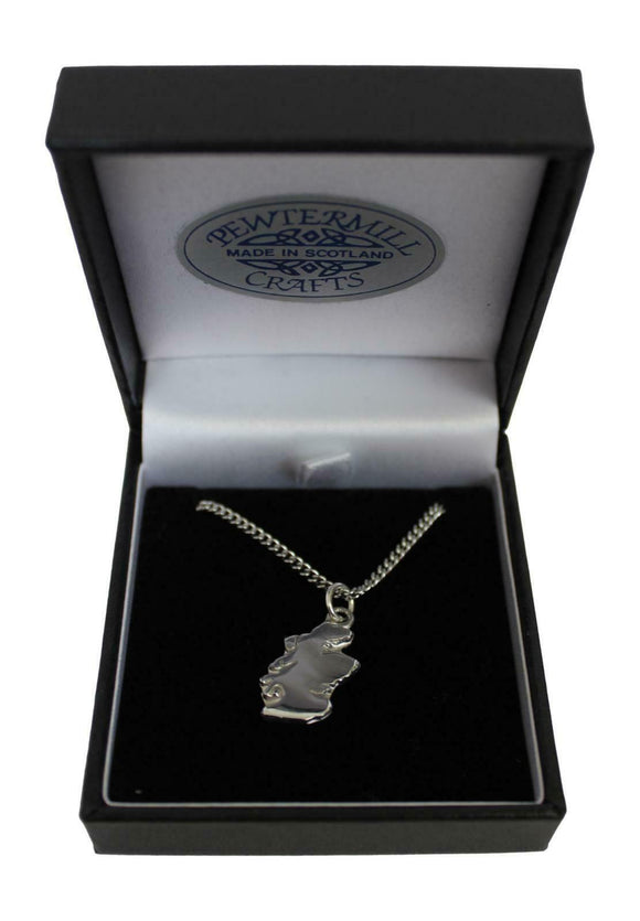 Brave Scottish Gifts Stunning Scotland Map Polished Pewter Pendant & Chain