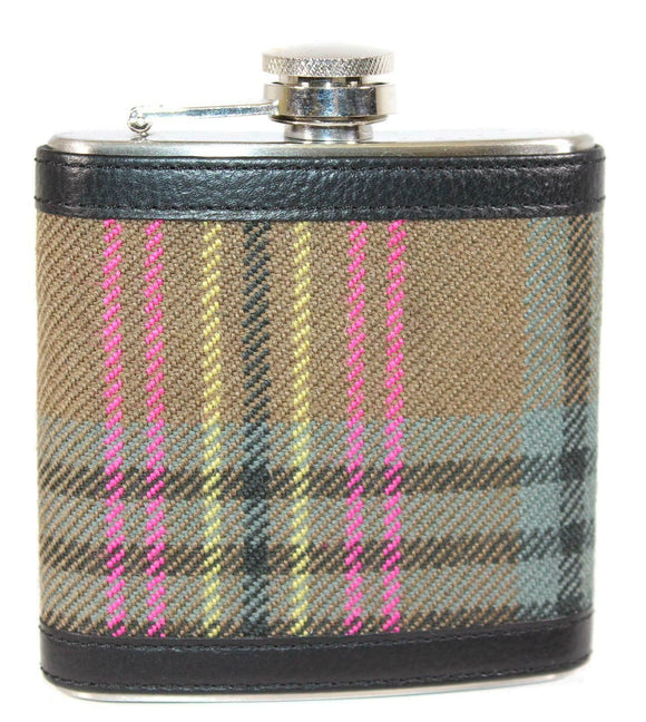 100% Scottish Tartan Wrapped 6oz Stainless Steel Flask - Wethered Kennedy
