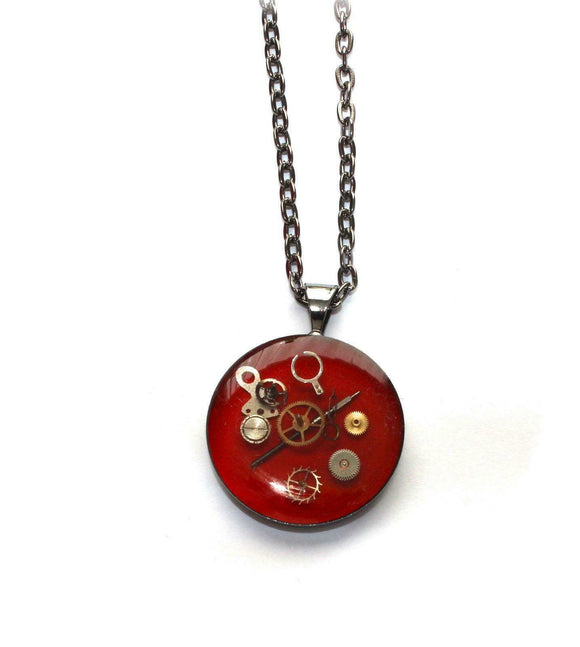 Hand crafted Red Resin Pendant With Watch Clock Cogs Parts Gunmetal Finish Chain