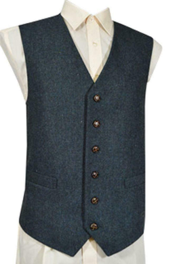 Classic Wool Handle Traditional Style Flecked Tweed Waistcoat - Blue