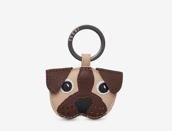 Yoshi Nappa Frappe Leather Percy the Pug Keyring