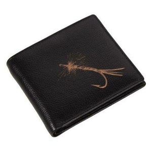 Authentic Leather Grained Dark Brown Leather Fishing Fly Engraved Wallet