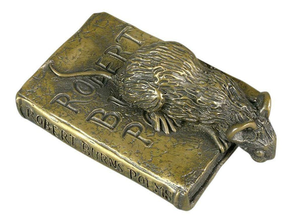Oriele Cold Cast Bronze Mouse & Poetry Book Figure Figurine Decoration