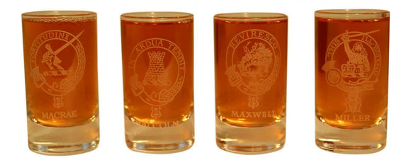 Glencairn Clan Crest Crystal Dram Tot Glass - MacRae Malcolm Maxwell Miller