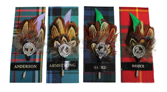 Ronnie Hek Feather Clan Crest Kilt Stick Pin - Anderson Armstrong Baird Bruce