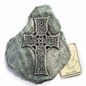 Iona Cross Celtic Reconstituted Stone Wall Plaque - Unique Scottish Gift