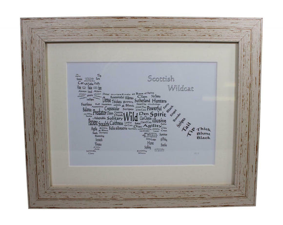 Art By The Loch Handmade Scottish Wild Cat Word Art Picture