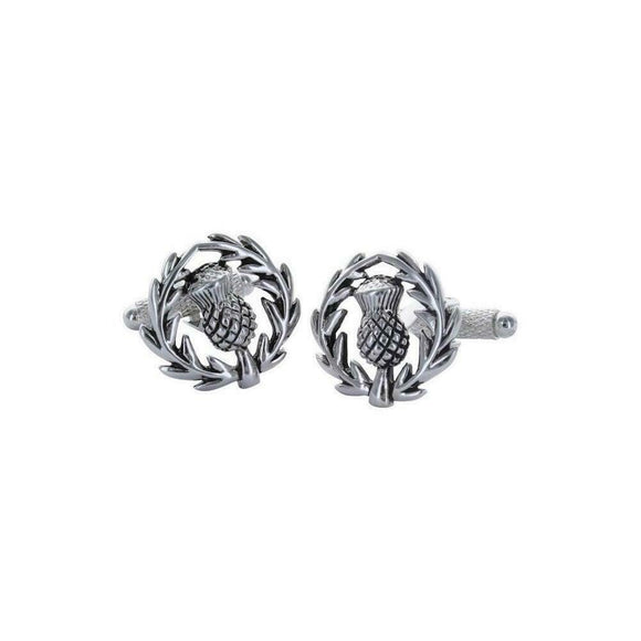 Onyx Art London Scottish Thistle Mens T-Bar Cufflinks