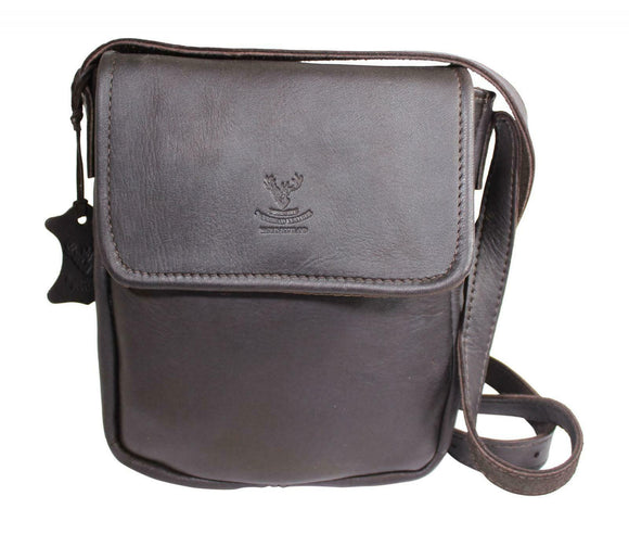 Wild Scottish Deerskin Designer Dark Brown Tan Leather Cross Body Bag