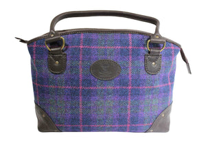 Wild Scottish Deerskin Leather Purple Check Harris Tweed Large Sophie Tote Bag
