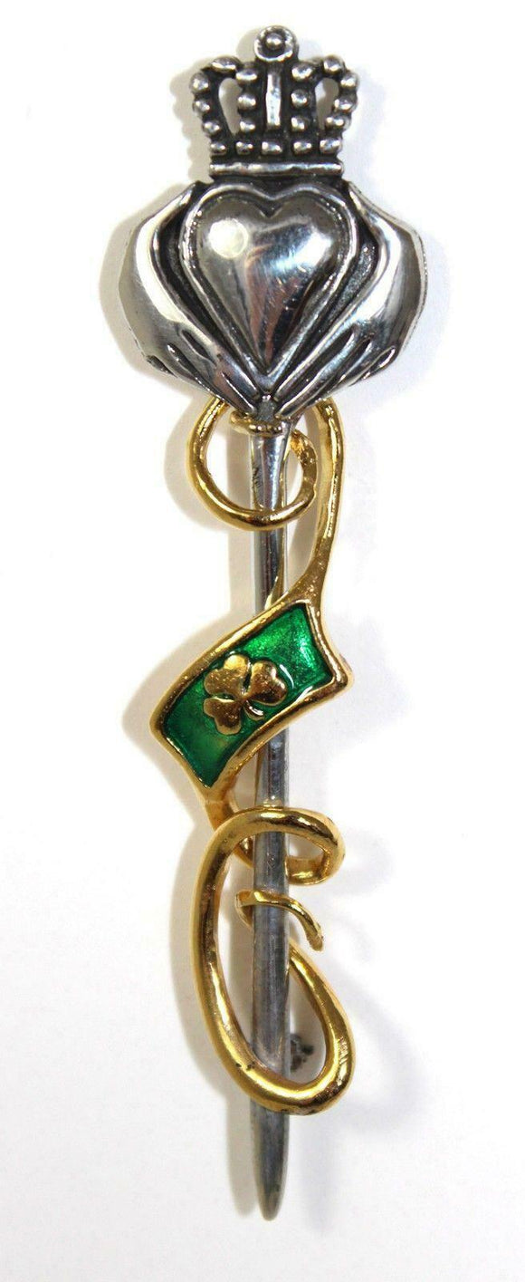 Claddagh Traditional Pewter Kilt Pin in Two Tone with Enamelled Shamrock Flag