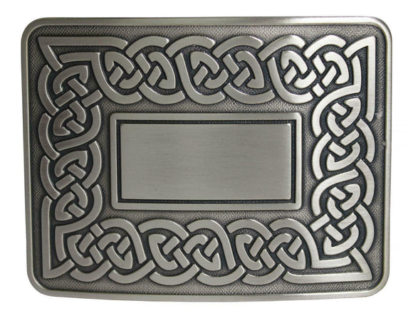 Traditional Dress Celtic Eternal Link Kilt Belt Buckle - Brushed Antique