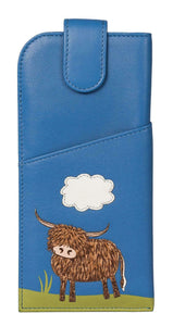 Mala Blue Leather 'Bella' Scottish Highland Cow Coo Glasses Specs Case