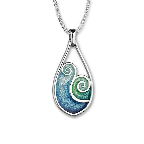 Ortak Tranquillity Blue Green Enamel Tear Drop Sterling Silver Necklace Pendant