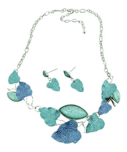 Alexander Thurlow Blue Green Aqua Leaf Necklace Pendant & Earrring Set