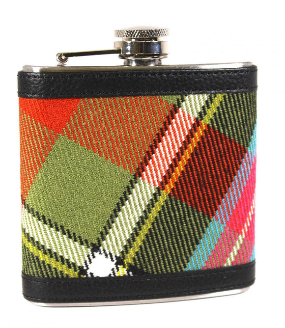 100% Scottish Tartan Wrapped 6oz Stainless Steel Pocket Hip Flask Ancient Bruce