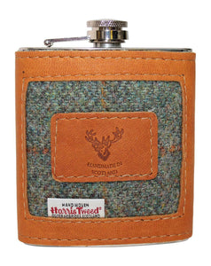 Tan Camel Authentic Leather & Green Harris Tweed Ladies Gents 6oz Hipflask