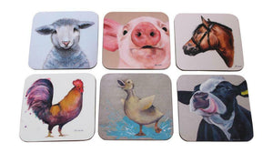 Jan Laird Art Set Of 6 Farm Sheep Cow Duckling Piglet Horse Cockerel Coaster Placemats